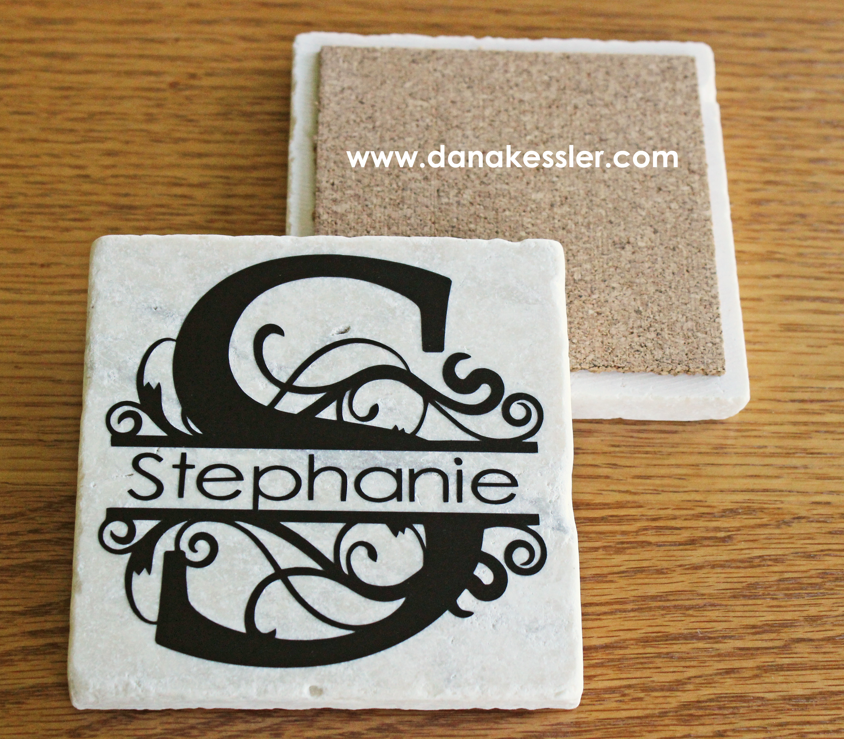 Personalized coaster tiles with cricut explore for Cricut crafts to sell